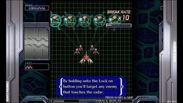 ロックオンシュートのボタンを押すと、自機を中心に円が広がって行く。円に入った敵をロックオンし、ボタンを放すと攻撃する。放してから攻撃が当たるまでに若干のタイムラグがある。