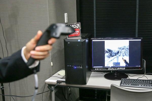 コントローラはゲーム画面内にも表示される。片方が銃、片方は移動用として使う