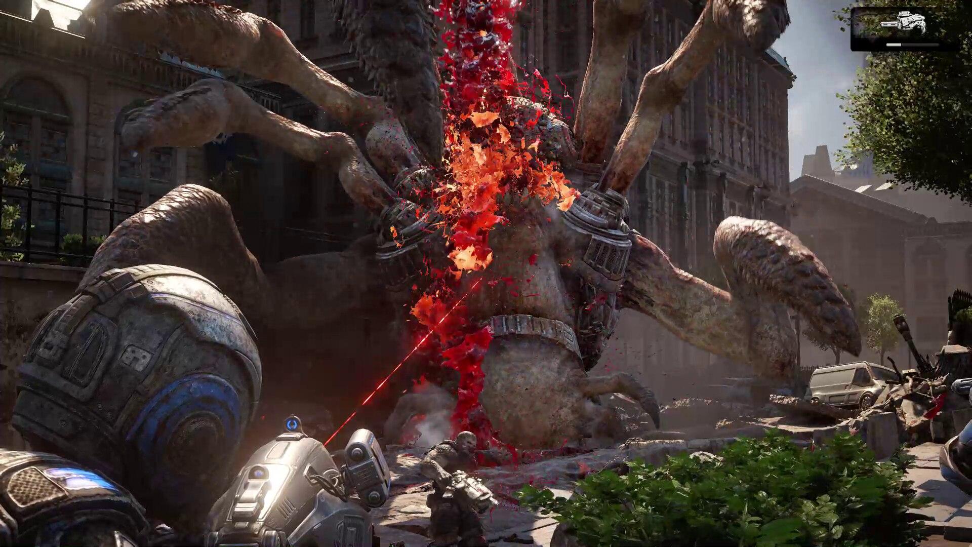 過去の回想シーンで、人類の存亡を賭けて戦う兵士達。シリーズ通して愛された最強のビーム兵器「ドーンハンマー」が使えるのは、本作ではここだけ
