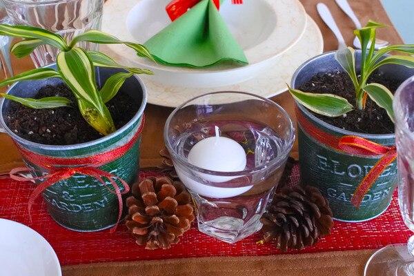 クリスマス ニトリ ボーンチャイナ 100円ショップ テーブルコーディネート 観葉植物