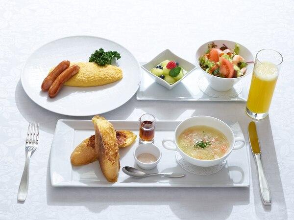 朝食はプランでアップグレードされた、洋食のプレミアムメニュー