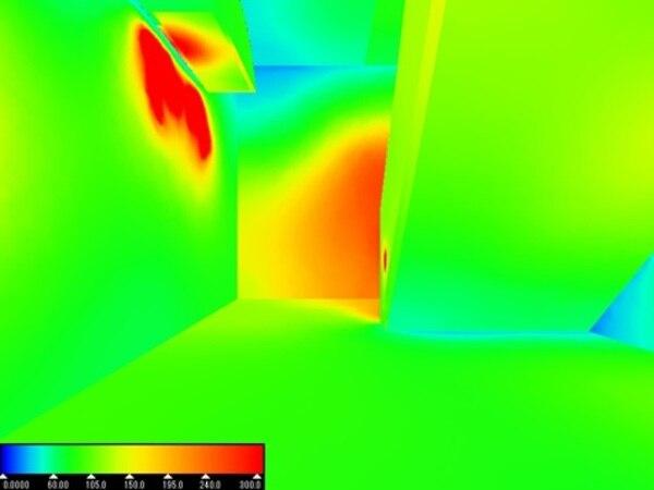 明るさシミュレーションによる階段吹き抜けの光ダクト導入時の照度疑似カラー画像