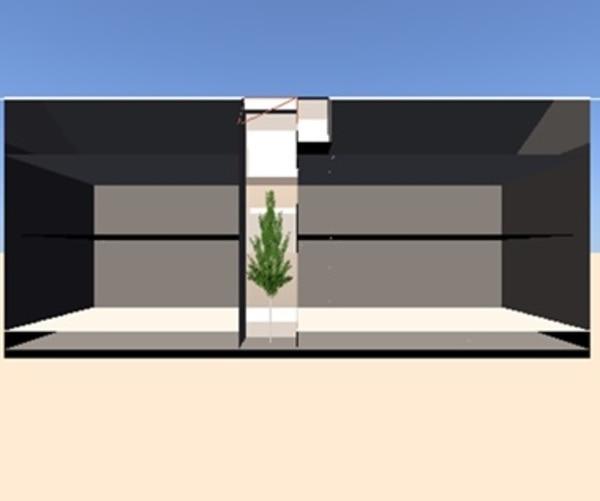 明るさシミュレーションによる住宅内吹き抜け(坪庭)の3Dモデルの断面画像