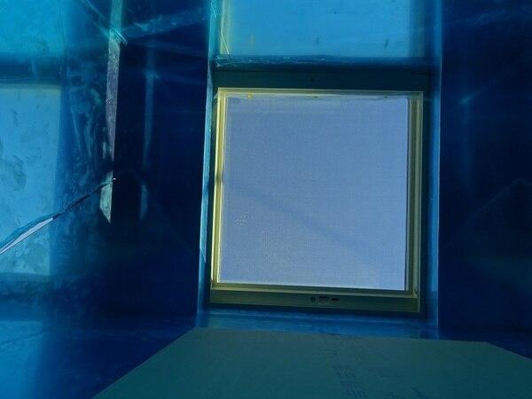 光ダクトモデルハウスの光ダクト採光部トップライト見上げ