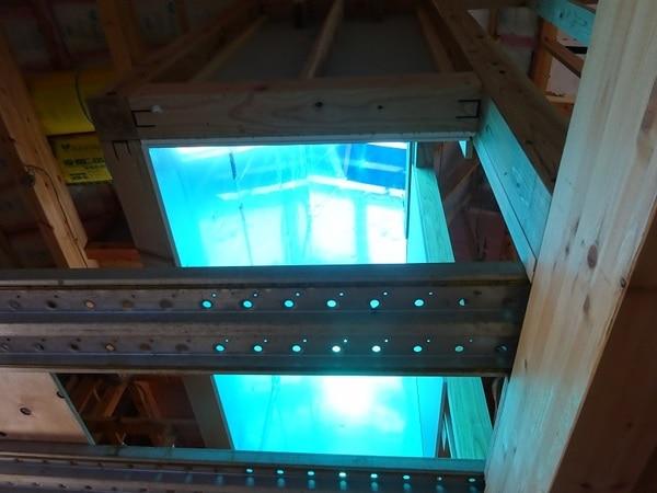 光ダクトモデルハウスの光ダクト放光部周辺
