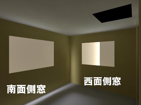 住宅密集地1Fの室内の明るさの様子 光ダクトなし