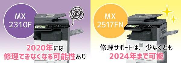 MX-2310FとMX-2517FNの修理可能期限