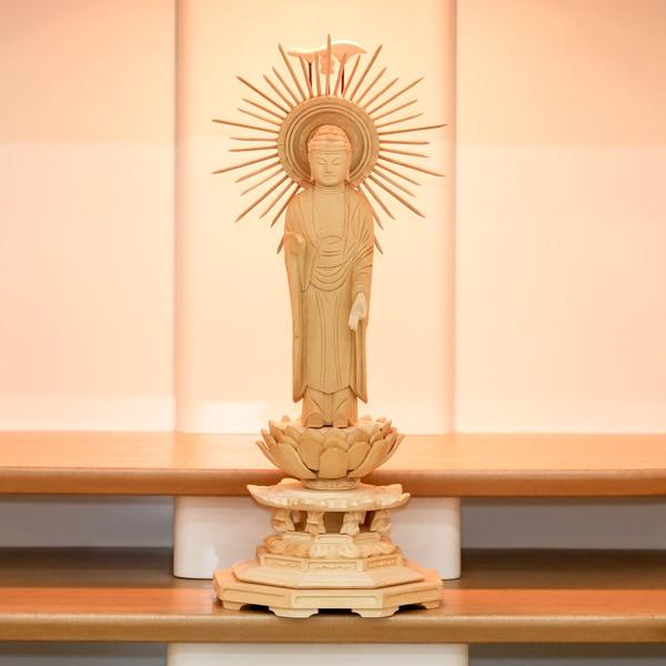仏像 桧八角台東型 光背立阿弥陀