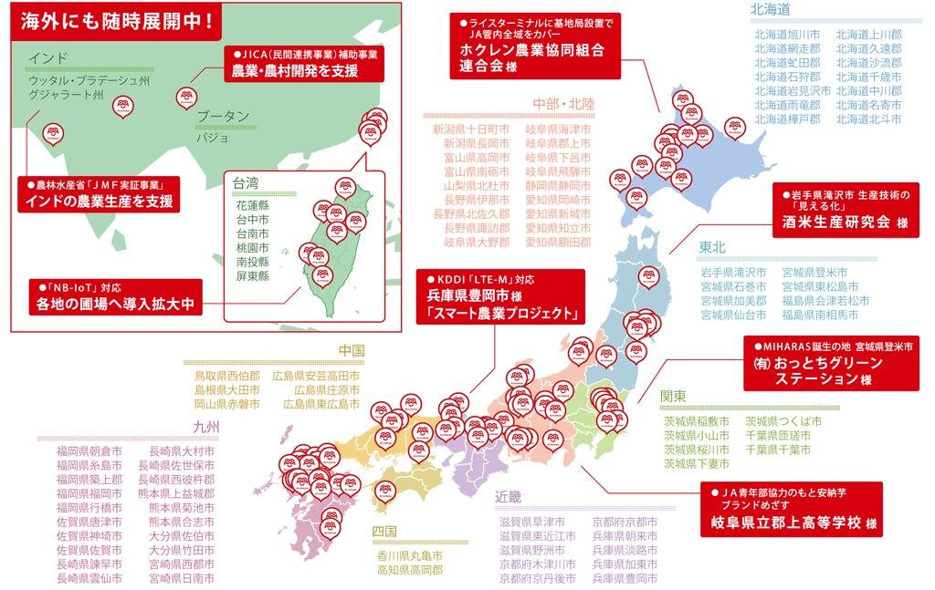 農業ITセンサーMIHARAS(ミハラス)導入事例MAP2019