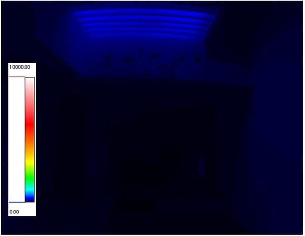 光ダクト導入住宅 輝度測定 夏期曇天時12:00 光ダクト