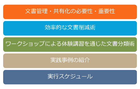 文書管理・共有化の必要性・重要性 効率的な文書削減術 ワークショップによる体験講習を通じた文書分類術 実践事例の紹介 実行スケジュール